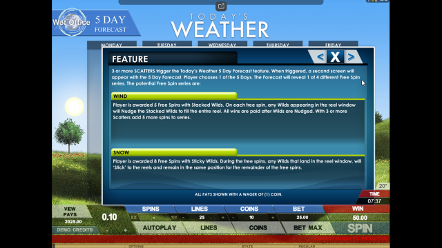 Бонусная игра Today's Weather 3